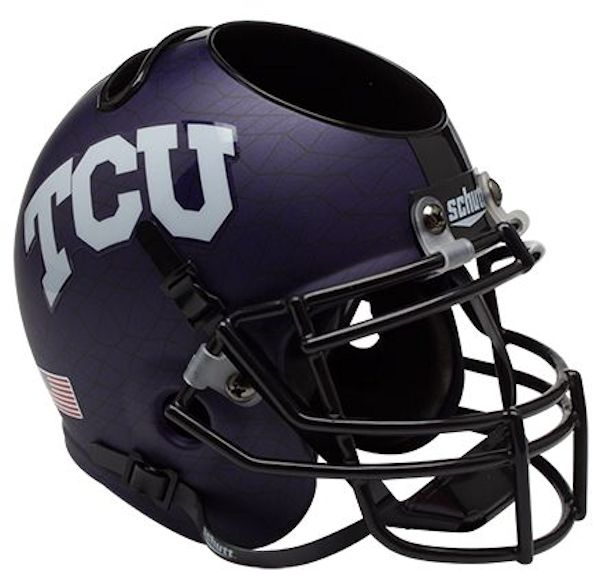 TCU Horned Frogs Miniature Football Helmet Desk Caddy <B>Purple Crosshatch</B>