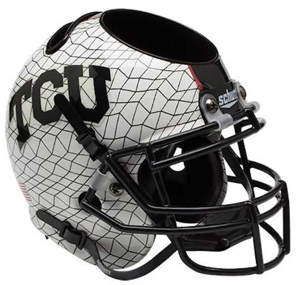 TCU Horned Frogs Miniature Football Helmet Desk Caddy <B>White Crosshatch</B>