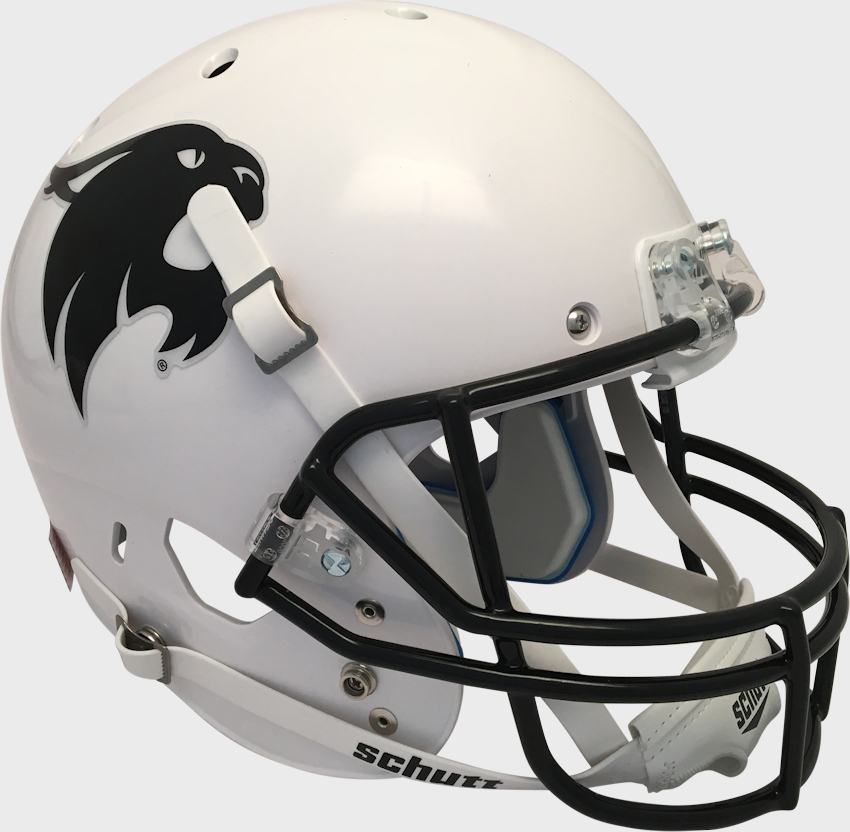 Texas State Bobcats Full XP Replica Football Helmet Schutt <B>White w/Black Bobcat</B>