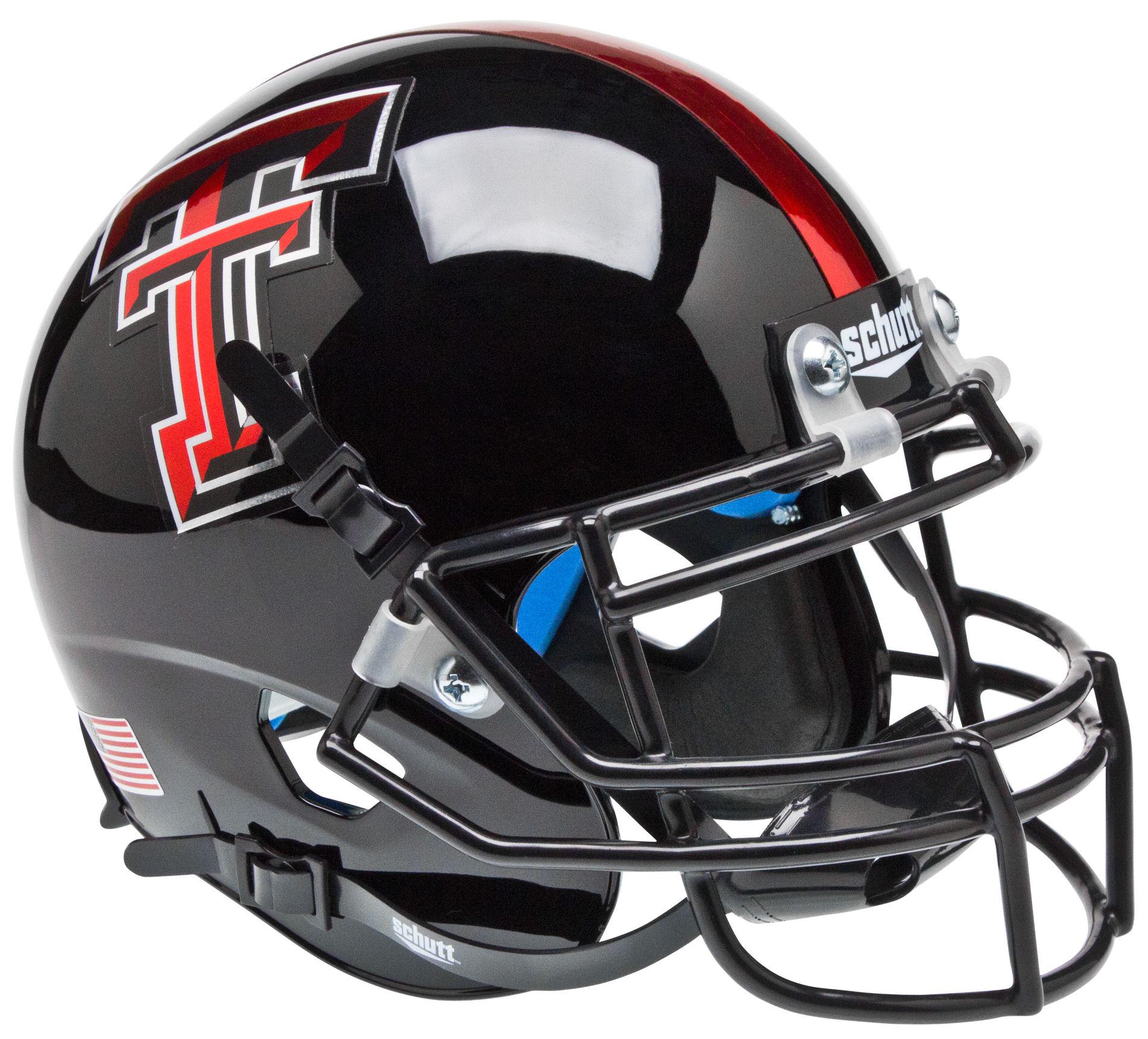 Texas Tech Red Raiders Mini XP Authentic Helmet Schutt <B>Chrome Logo</B>