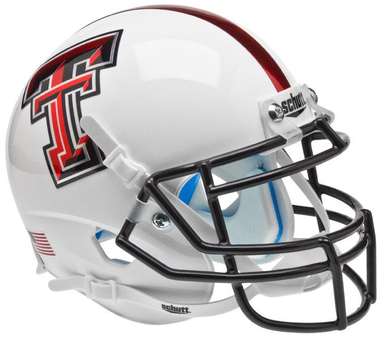 Texas Tech Red Raiders Mini XP Authentic Helmet Schutt <B>White Chrome Logo</B>