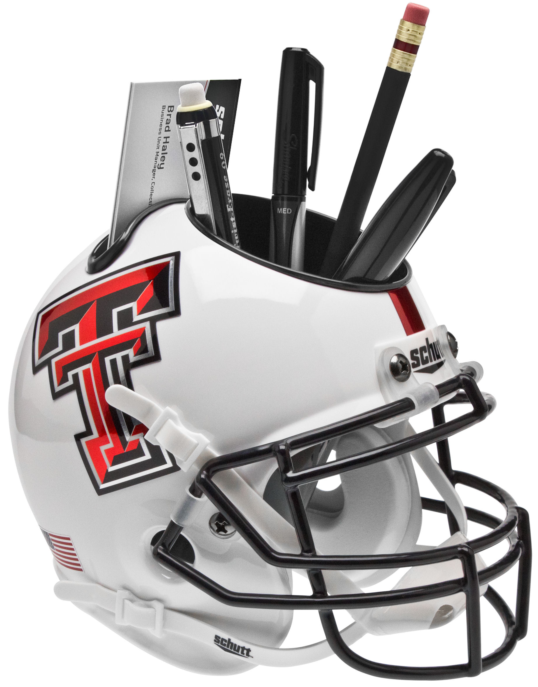 Texas Tech Red Raiders Miniature Football Helmet Desk Caddy <B>Whte Alt 5</B>