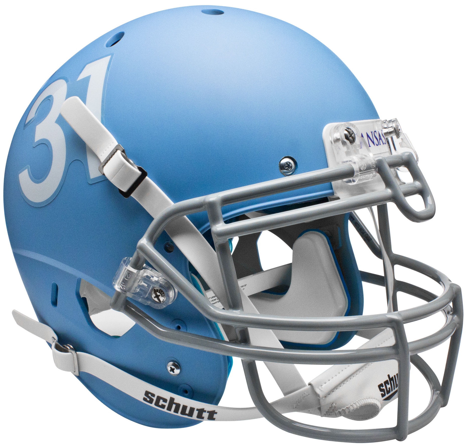 Kansas Jayhawks Authentic College XP Football Helmet Schutt <B>Matte Columbia Blue</B>