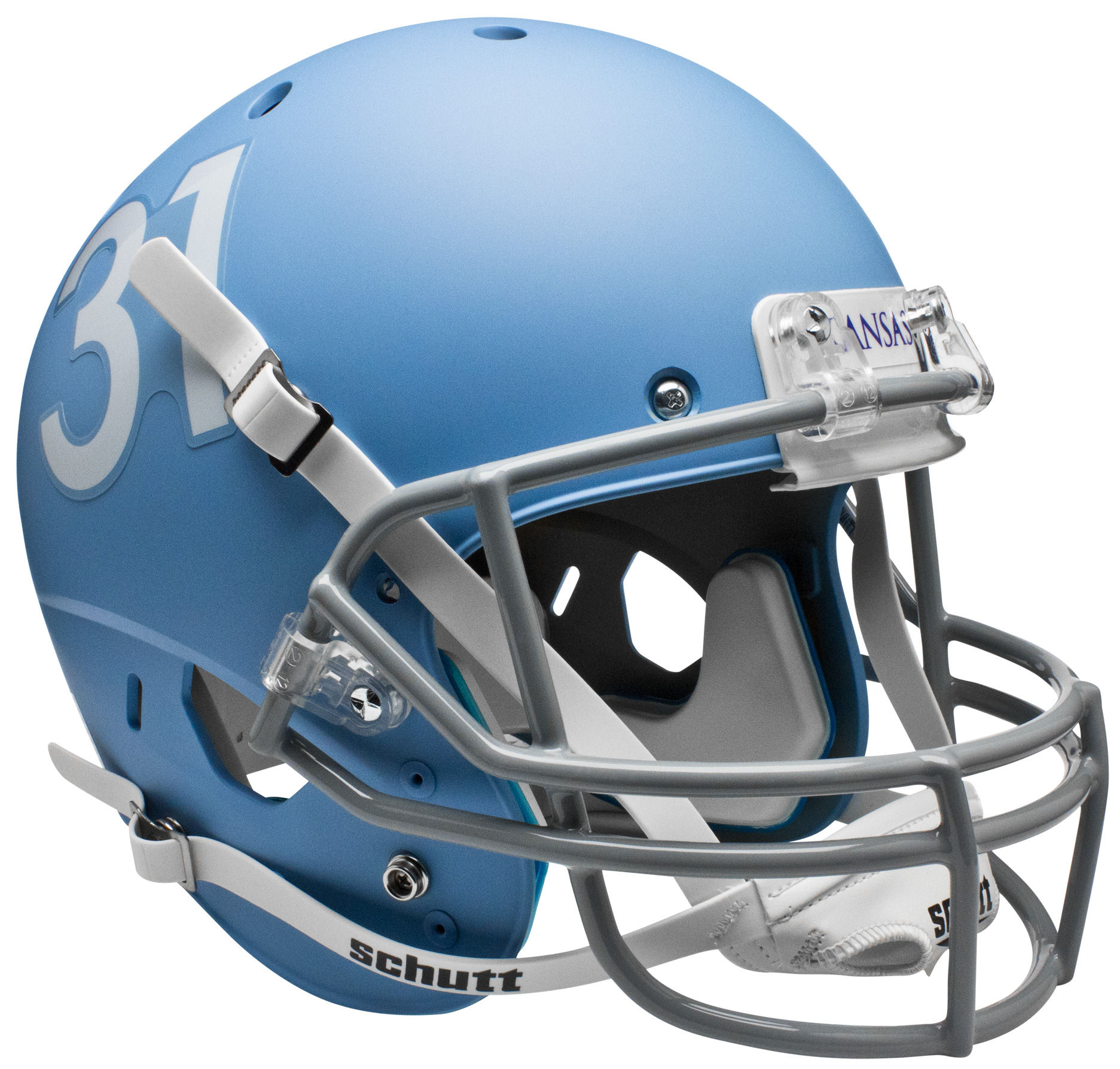 Kansas Jayhawks Full XP Replica Football Helmet Schutt <B>Matte Columbia Blue</B>