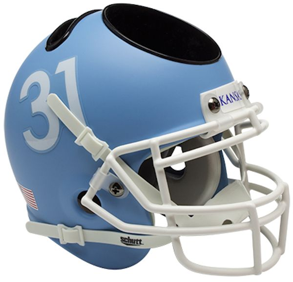 Kansas Jayhawks Miniature Football Helmet Desk Caddy <B>Matte Columbia Blue</B>