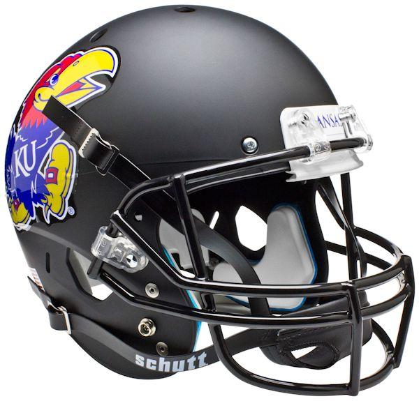 Kansas Jayhawks Full XP Replica Football Helmet Schutt <B>Matte Black</B>
