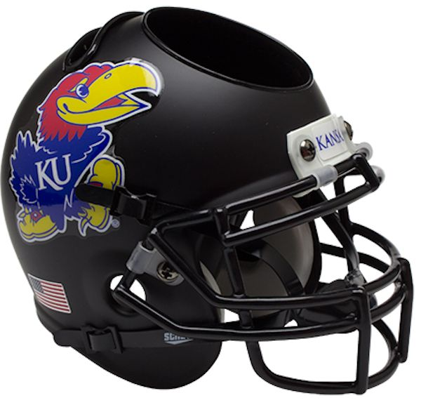 Kansas Jayhawks Miniature Football Helmet Desk Caddy <B>Matte Black</B>