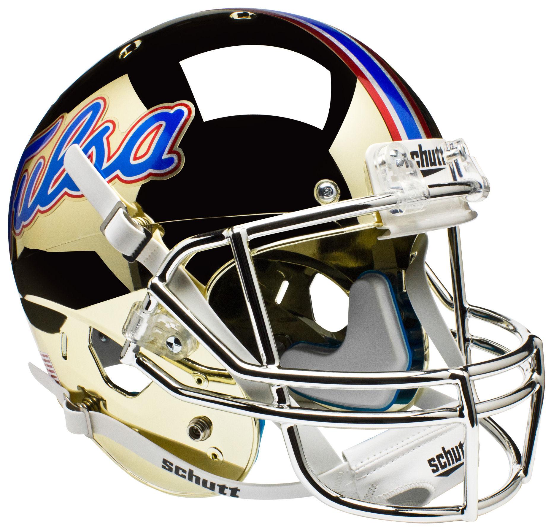 Tulsa Golden Hurricane Full XP Replica Football Helmet Schutt <B>Chrome</B>