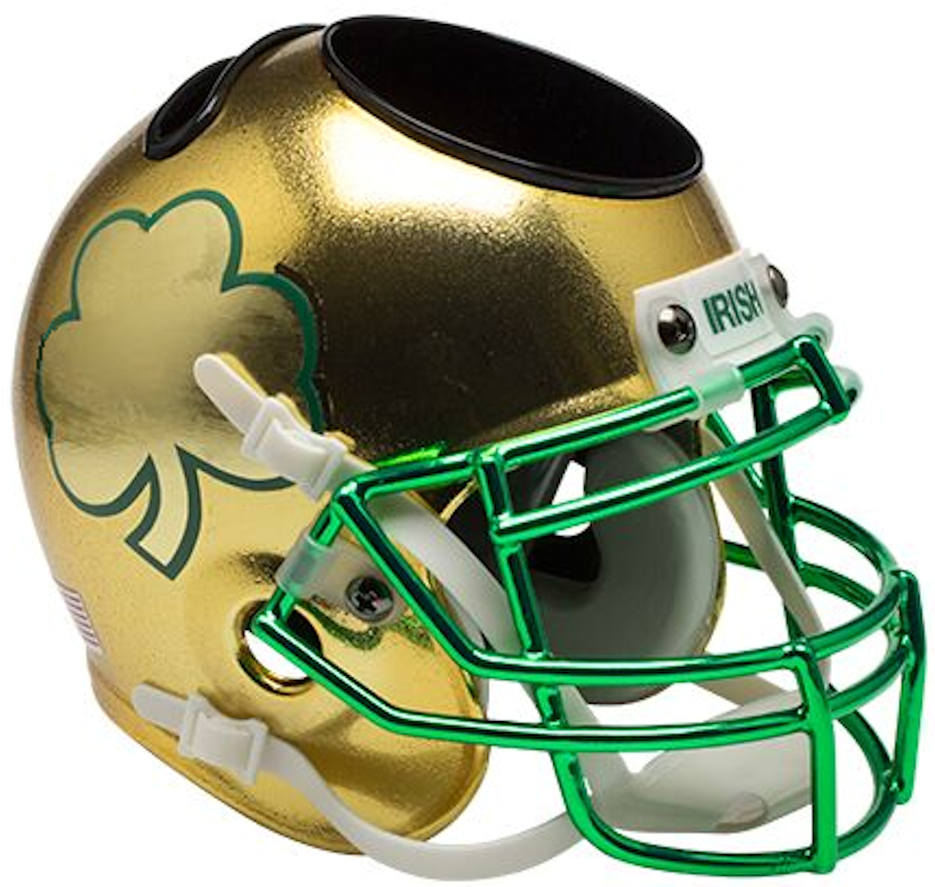 Notre Dame Fighting Irish Miniature Football Helmet Desk Caddy <B>Textured with Shamrock</B>