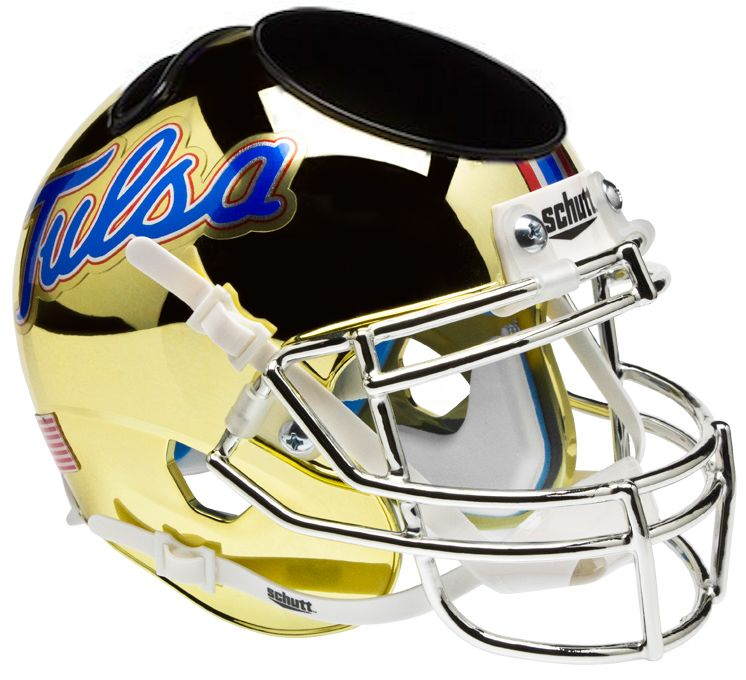 Tulsa Golden Hurricane Mini Football Helmet Desk Caddy <B>Chrome</B>