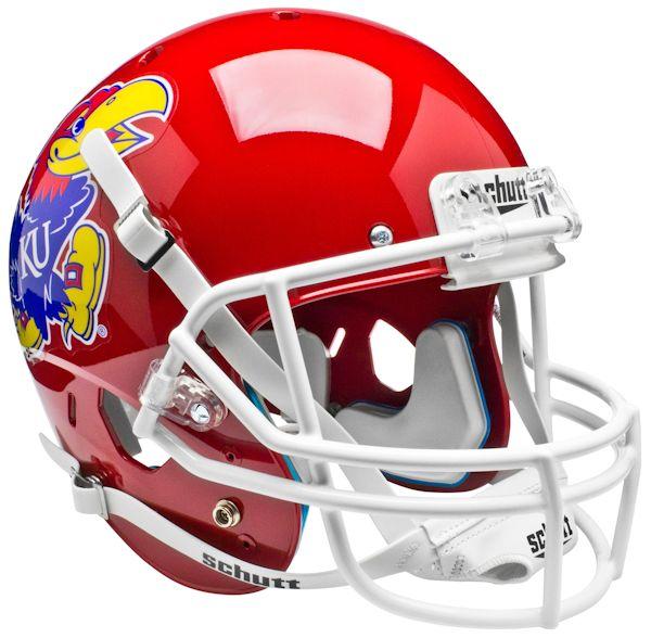 Kansas Jayhawks Full XP Replica Football Helmet Schutt <B>Scarlet Red</B>
