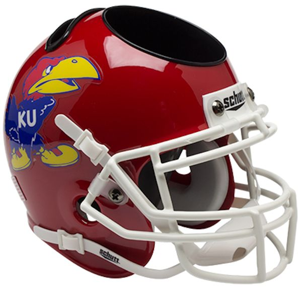 Kansas Jayhawks Miniature Football Helmet Desk Caddy <B>Scarlet Red</B>