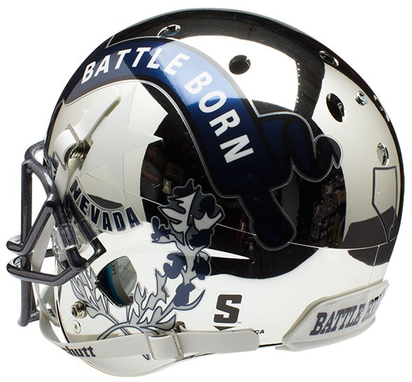 Nevada Wolfpack Full XP Replica Football Helmet Schutt <B>Chrome Silver</B>
