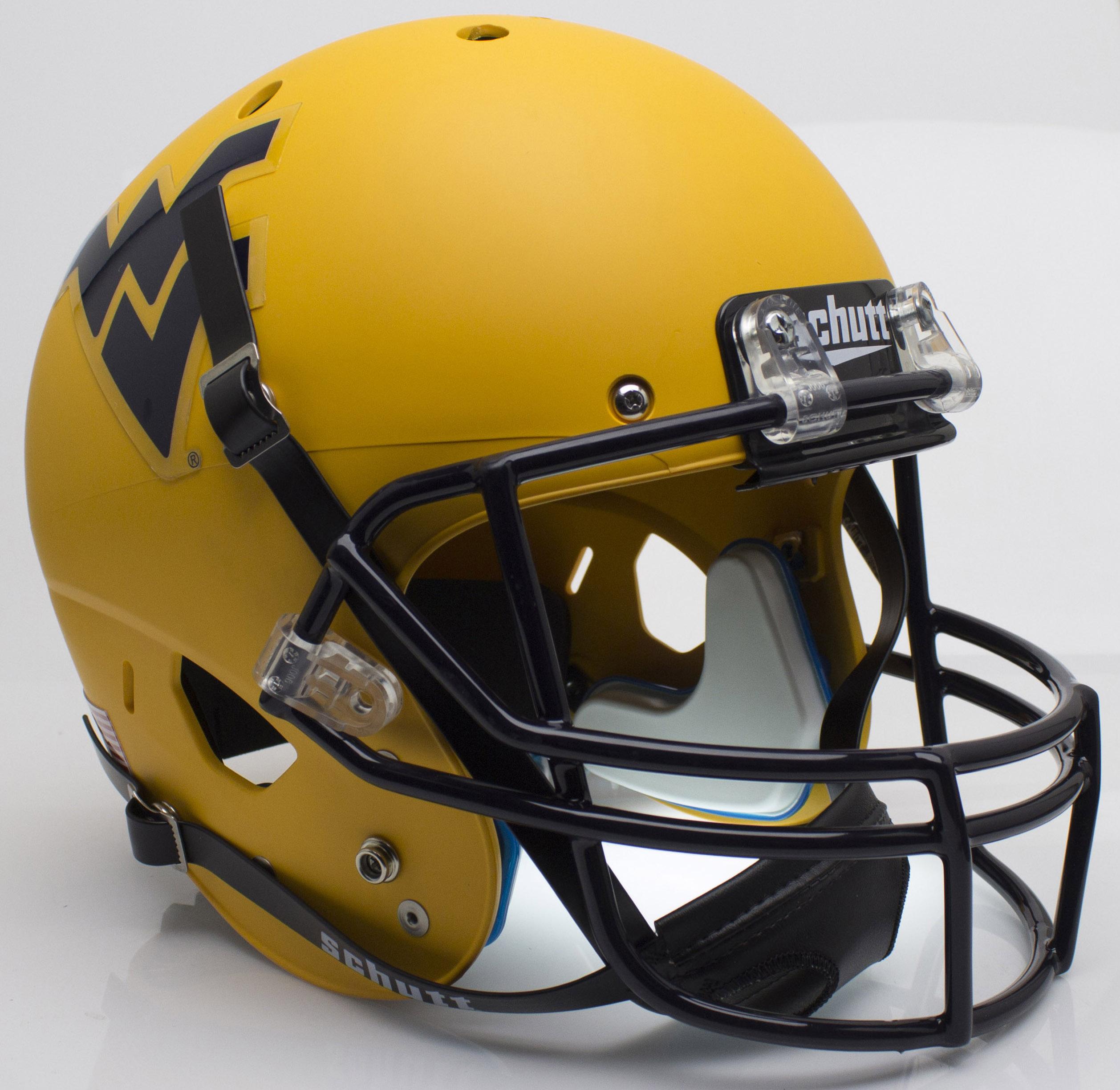 West Virginia Mountaineers Full XP Replica Football Helmet Schutt <B>Matte Gold</B>