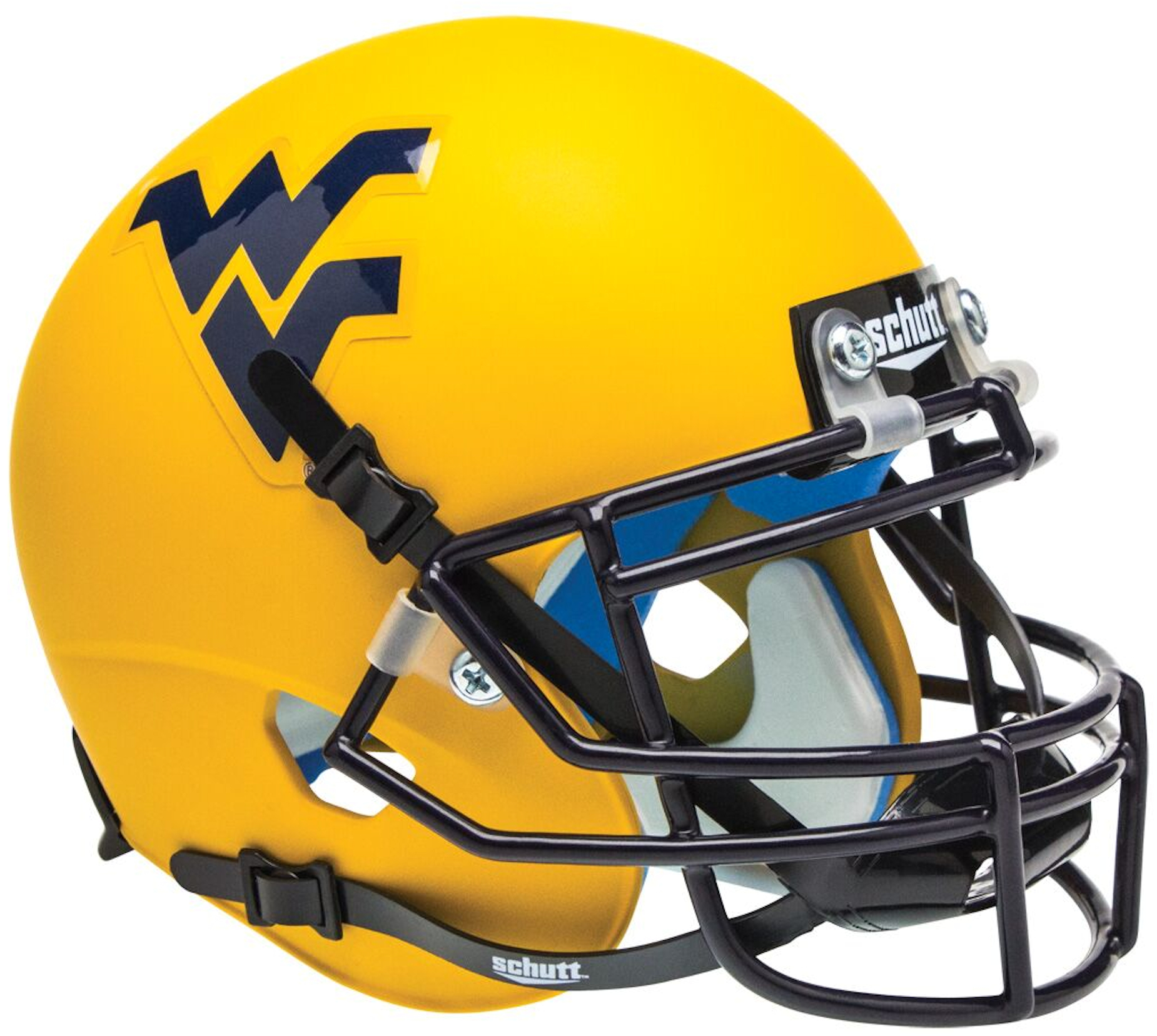 West Virginia Mountaineers Mini XP Authentic Helmet Schutt <B>Matte Gold</B>