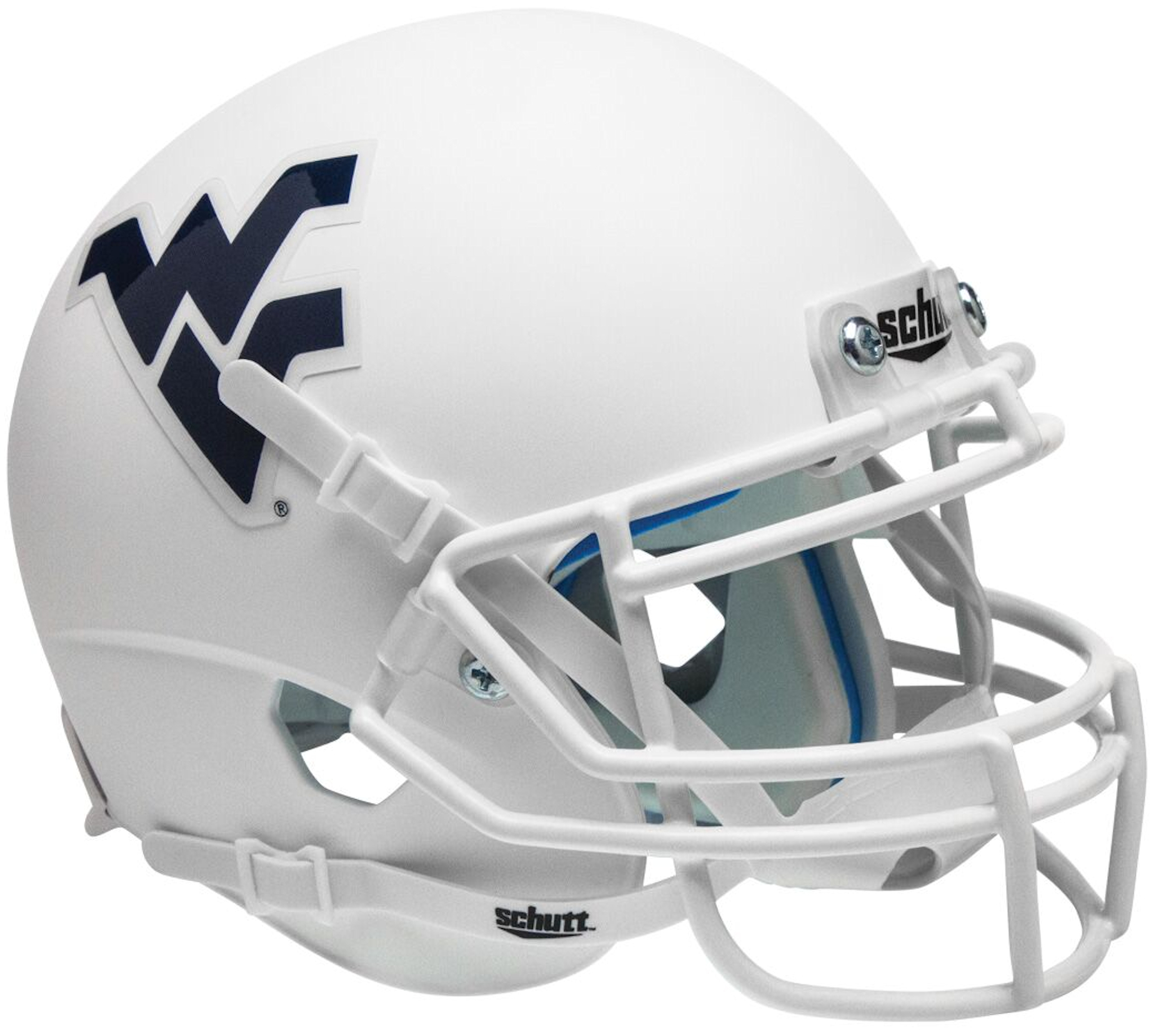 West Virginia Mountaineers Mini XP Authentic Helmet Schutt <B>Matte White</B>