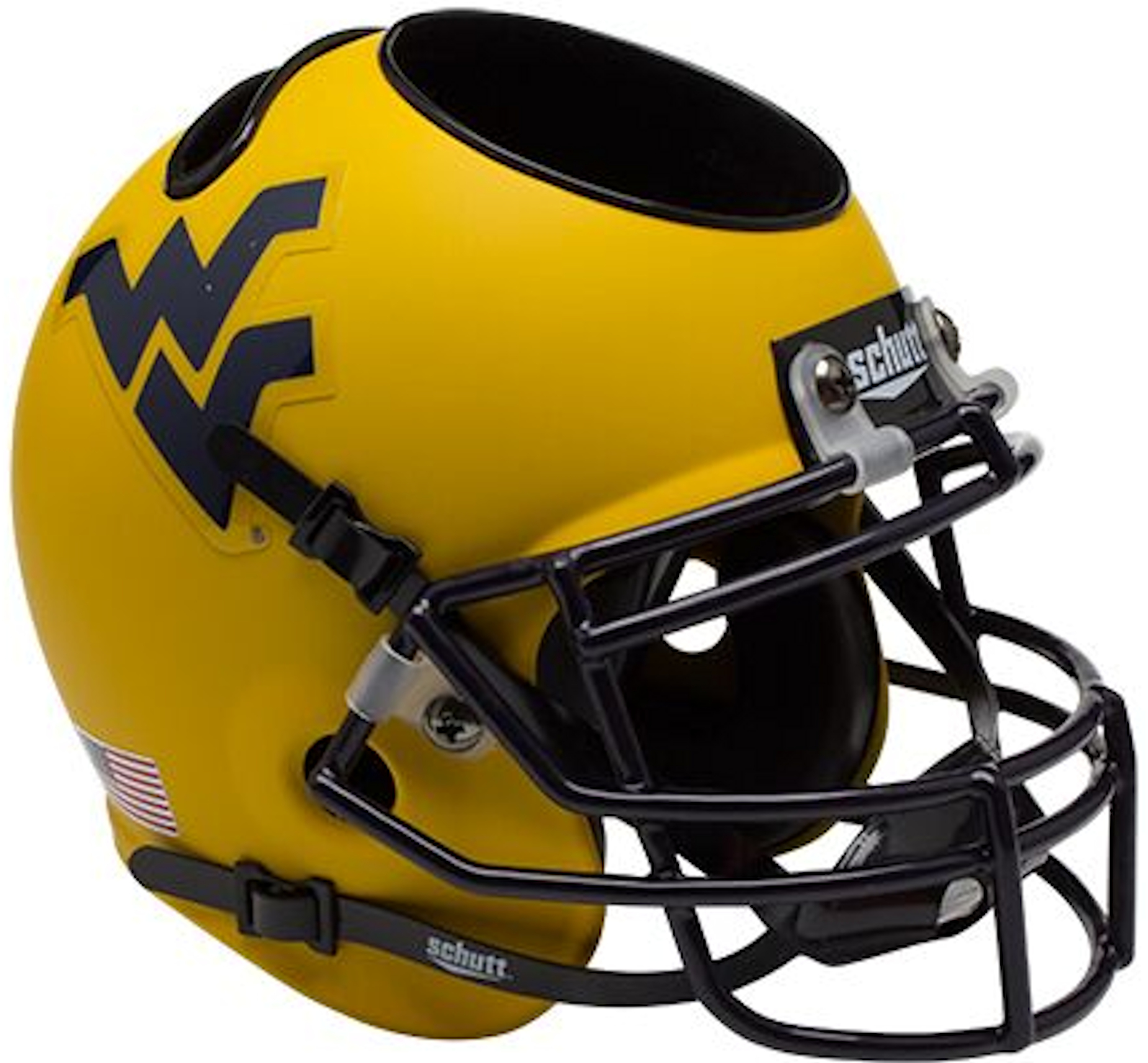 West Virginia Mountaineers Miniature Football Helmet Desk Caddy <B>Matte Gold</B>