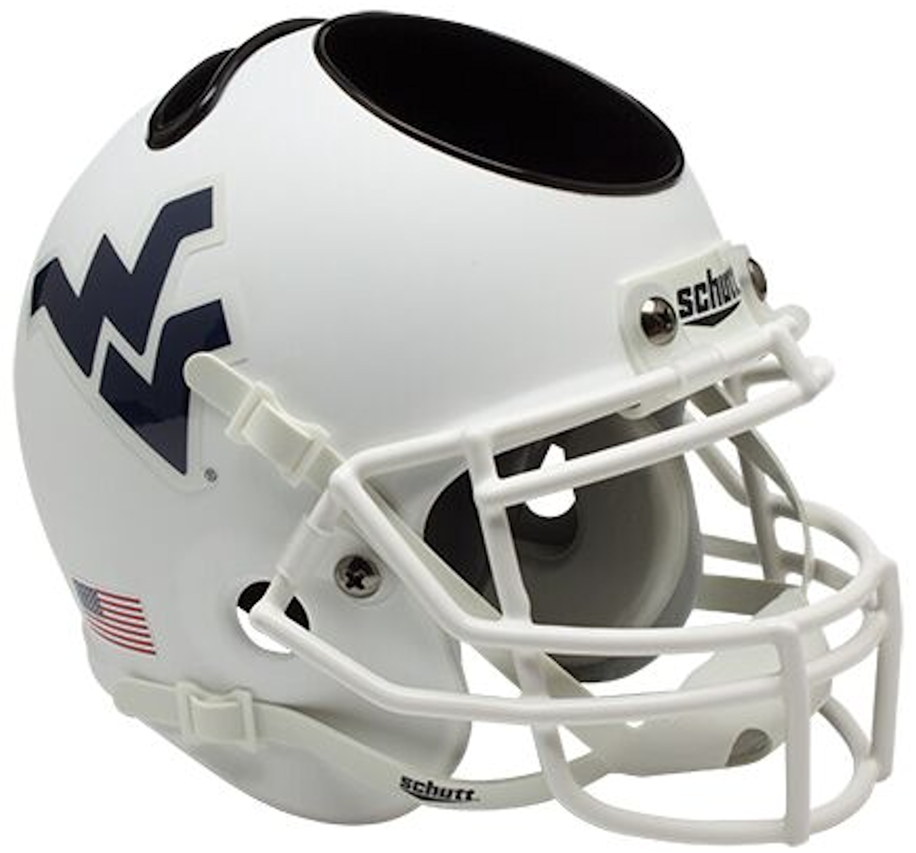 West Virginia Mountaineers Miniature Football Helmet Desk Caddy <B>Matte White</B>