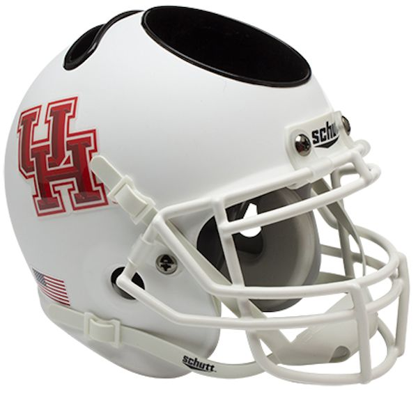 Houston Cougars Miniature Football Helmet Desk Caddy <B>Matte White</B>