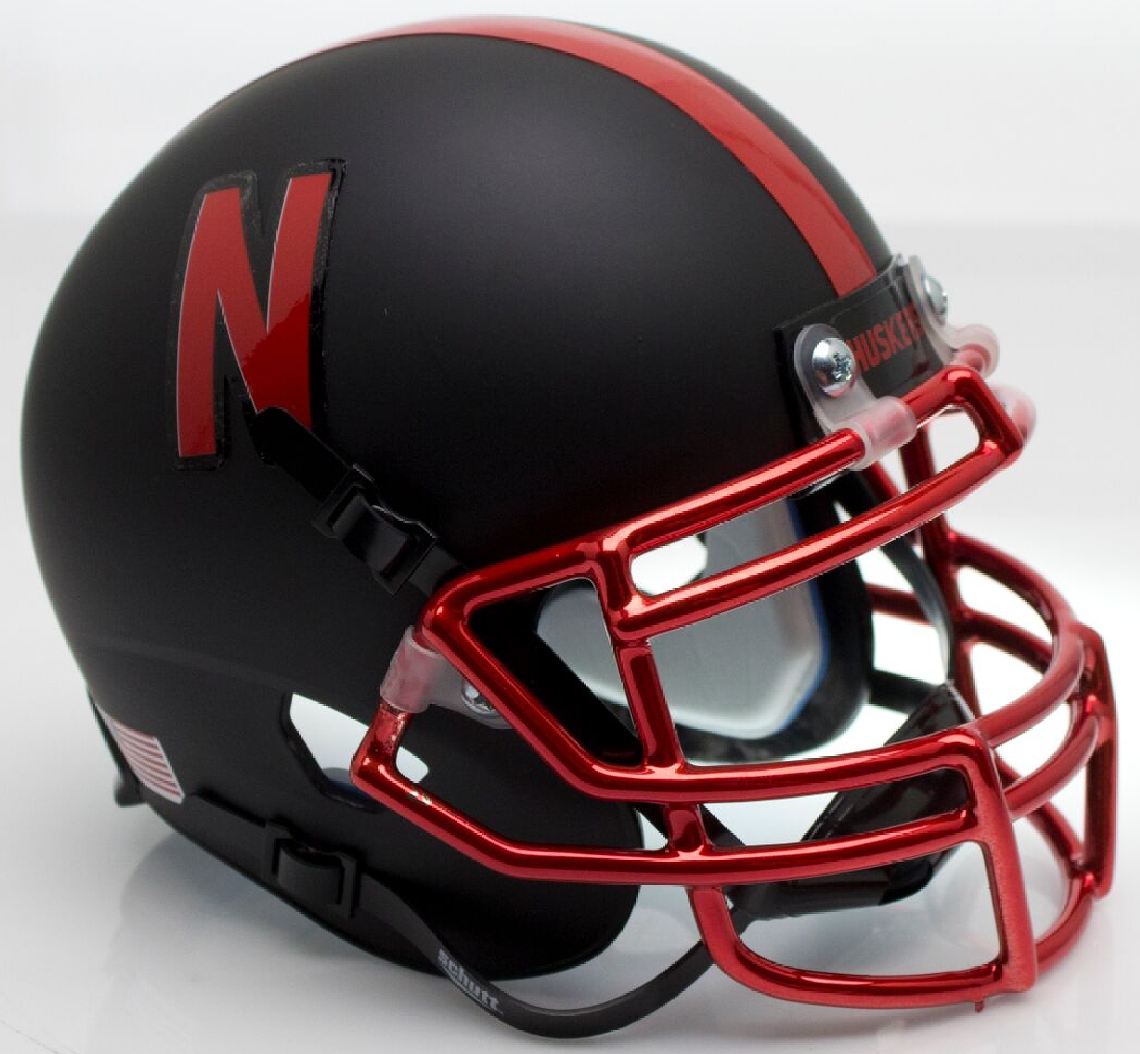 Nebraska Cornhuskers Miniature Football Helmet Desk Caddy <B>Chrome Mask</B>