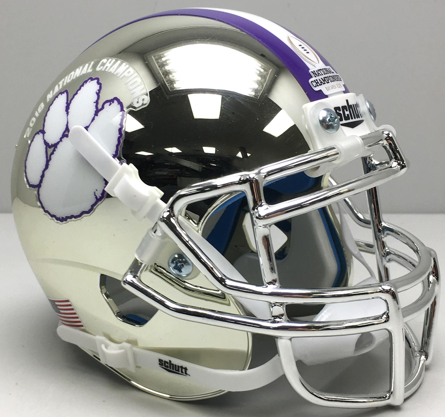 Clemson Tigers Authentic Football Helmet <B>2018 National Champs Silver Chrome</B>