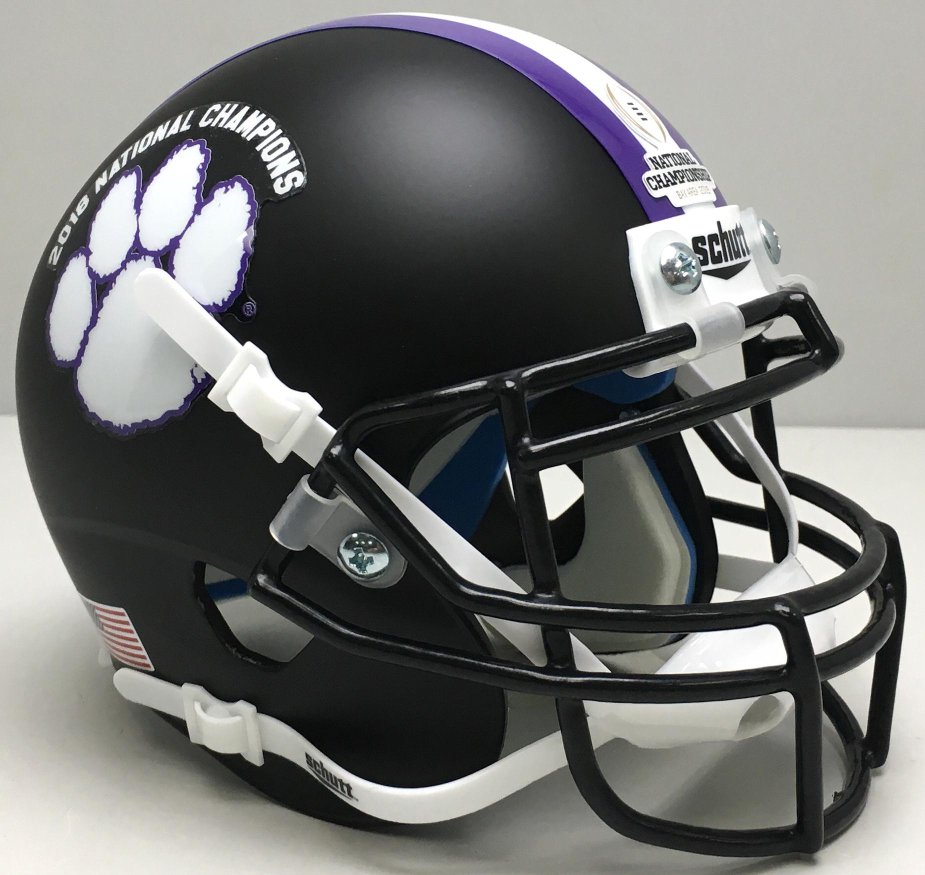 Clemson Tigers Full XP Replica Football Helmet Schutt <B>2018 National Champs Matte Black</B>