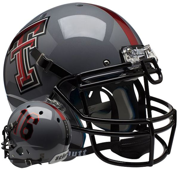 Texas Tech Red Raiders Authentic College XP Football Helmet Schutt <B>Gray 16</B>