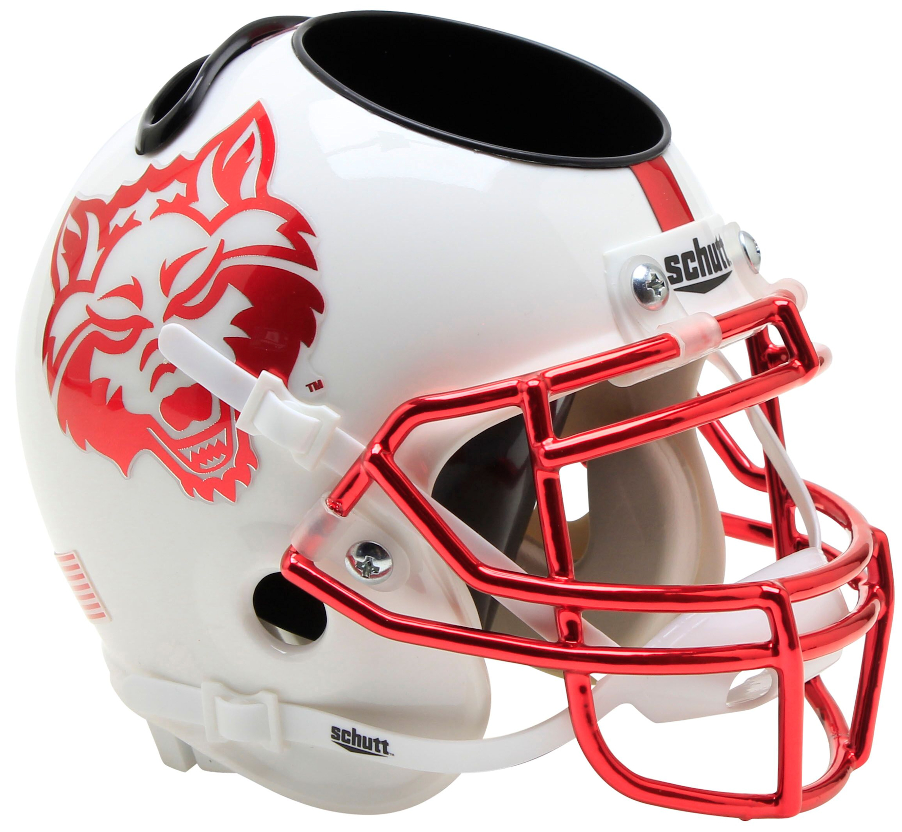 Arkansas State Red Wolves Miniature Football Helmet Desk Caddy <B>White with Chrome Mask</B>