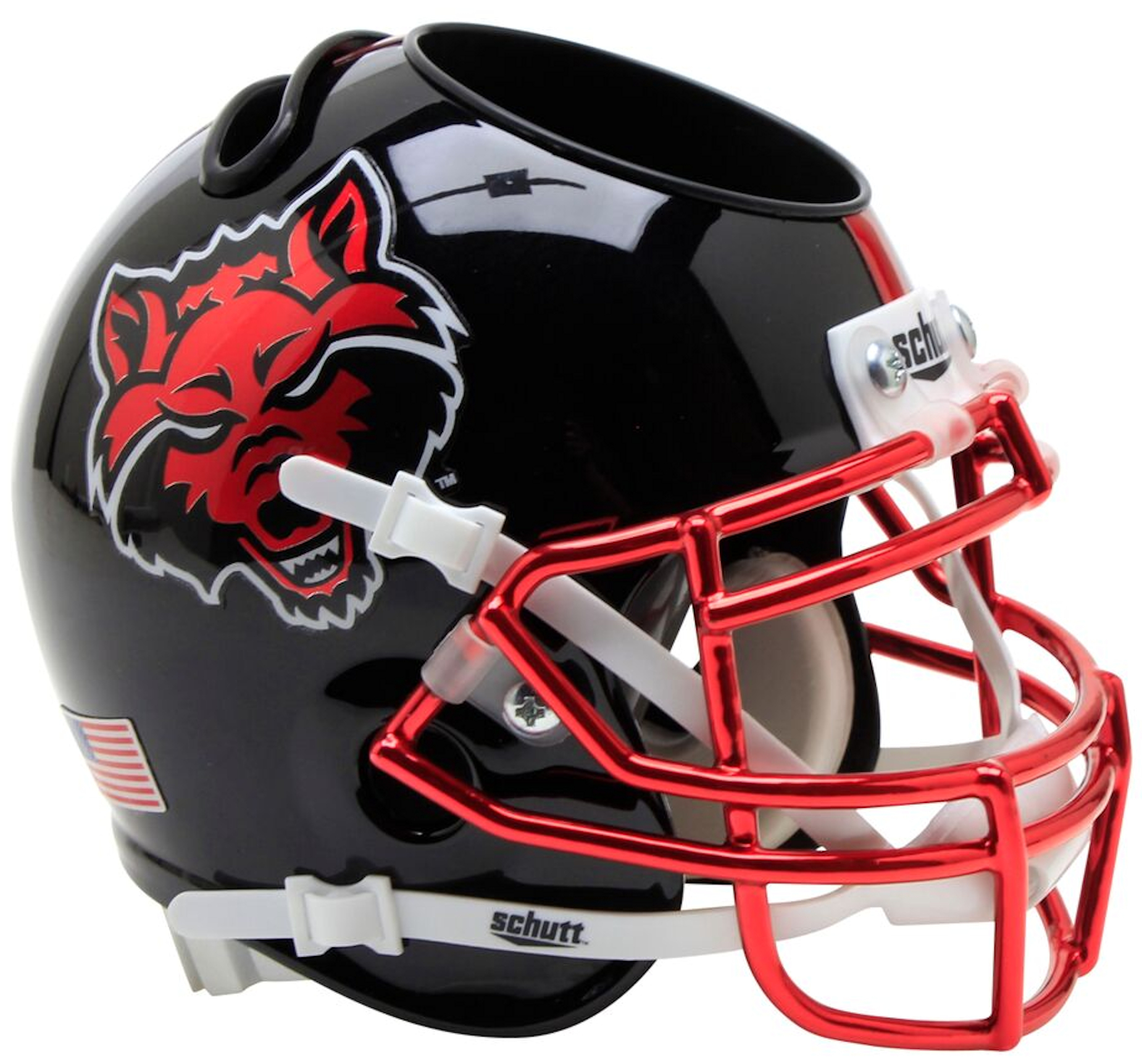 Arkansas State Red Wolves Miniature Football Helmet Desk Caddy <B>Black with Chrome Mask</B>