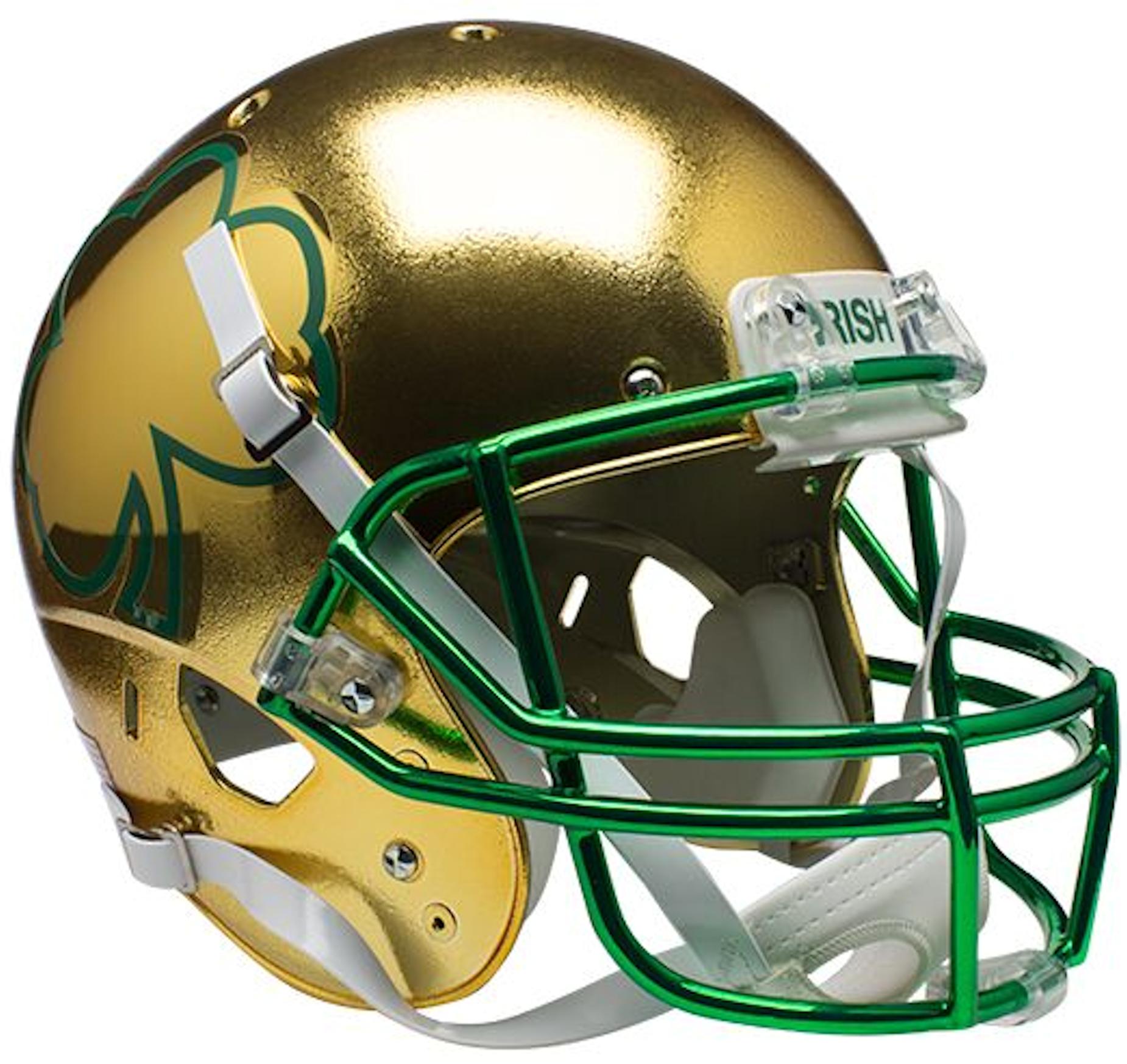 Notre Dame Fighting Irish Full XP Replica Football Helmet Schutt <B>Textured with Shamrock</B>