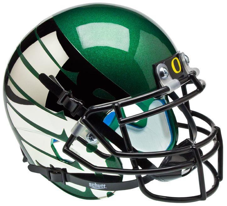 Oregon Ducks Mini XP Authentic Helmet Schutt <B>Titanium Thunder Green</B>