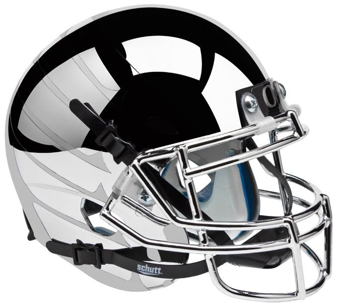 Oregon Ducks Mini XP Authentic Helmet Schutt <B>Chrome Smoke Wing</B>