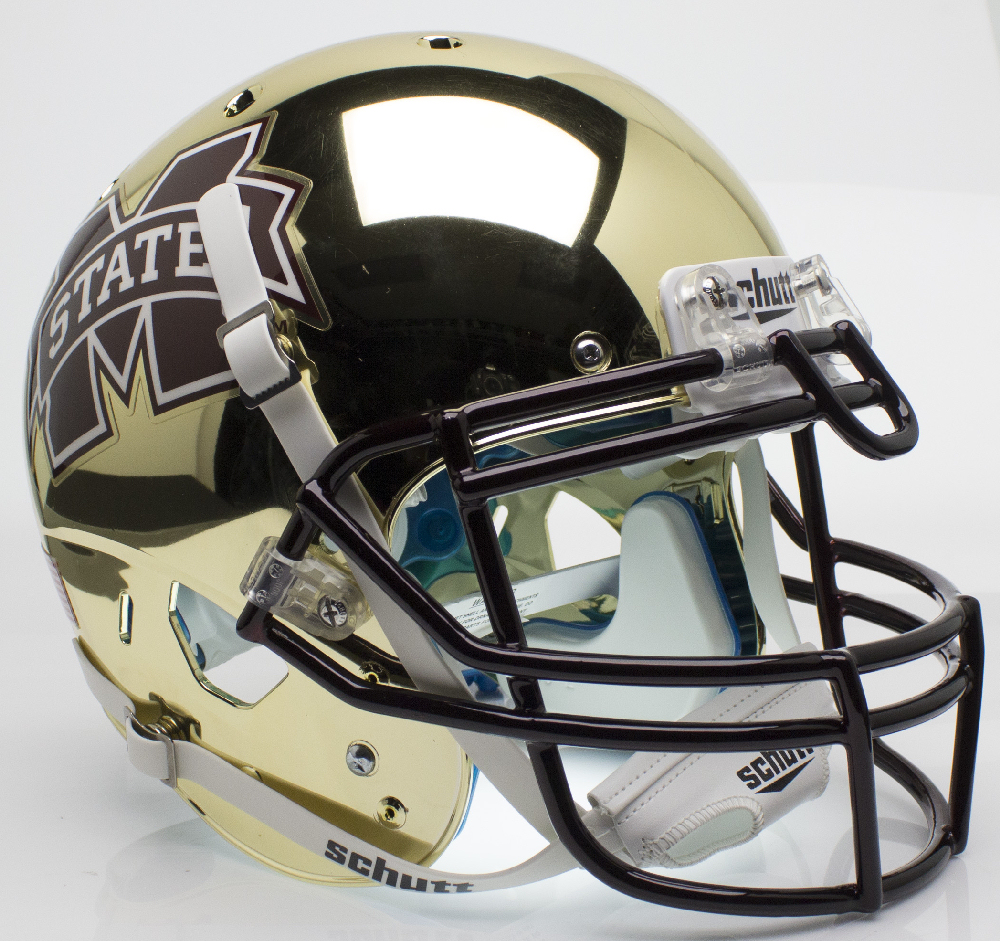 Mississippi State Bulldogs Authentic College XP Football Helmet Schutt <B>Chrome Gold</B>