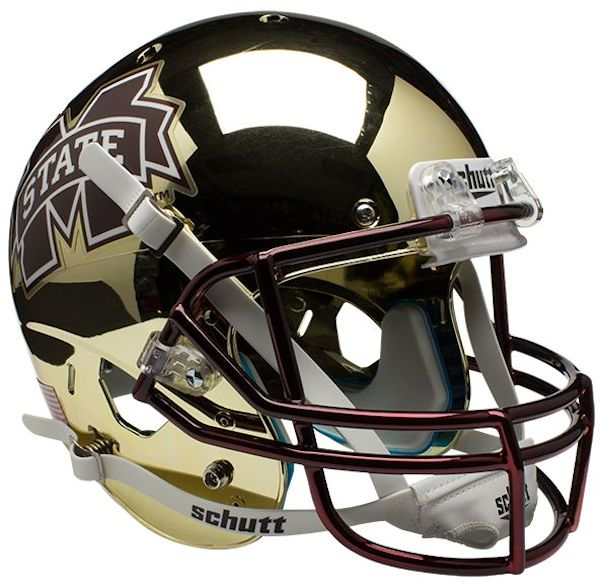 Mississippi State Bulldogs Full XP Replica Football Helmet Schutt <B>Chrome Gold</B>