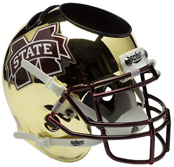 Mississippi State Bulldogs Miniature Football Helmet Desk Caddy <B>Chrome Gold</B>