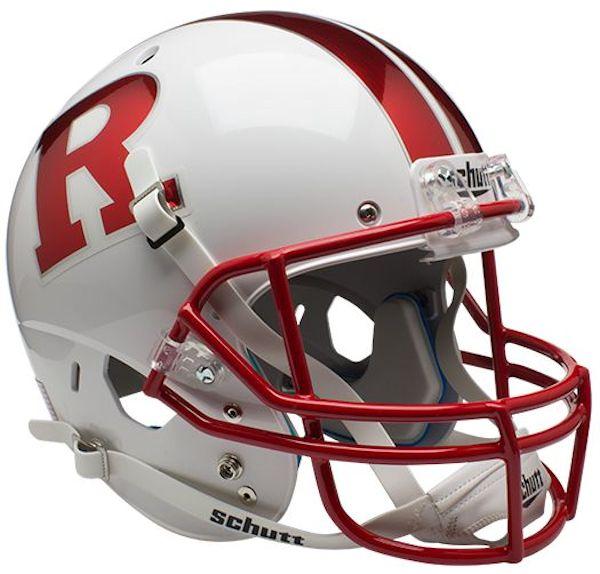 Rutgers Scarlet Knights Full XP Replica Football Helmet Schutt <B>Chrome R</B>