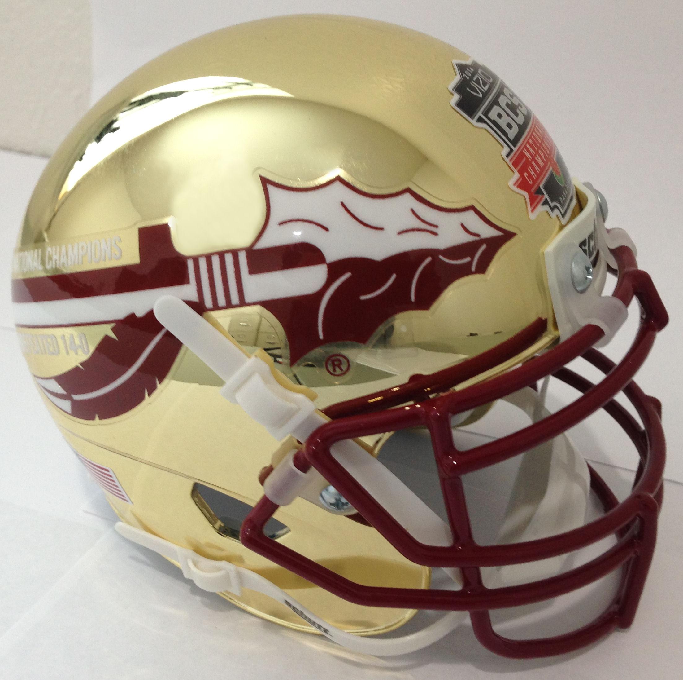 Florida State Seminoles 2013 BCS National Champions Replica Football Helmet Schutt <B>Gold Chrome</B>