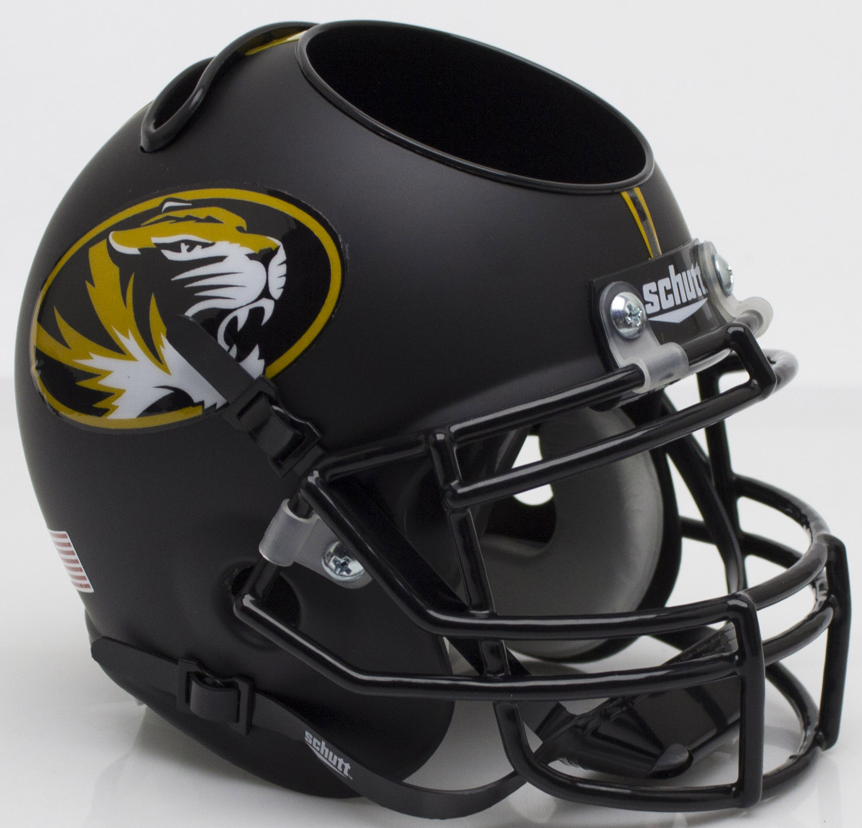 Missouri Tigers Miniature Football Helmet Desk Caddy <B>Matte Black Alt 3</B>