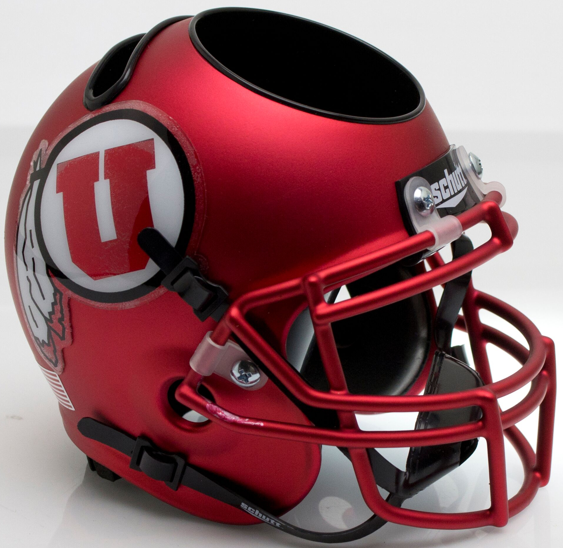 Utah Utes Miniature Football Helmet Desk Caddy <B>Satin Red</B>