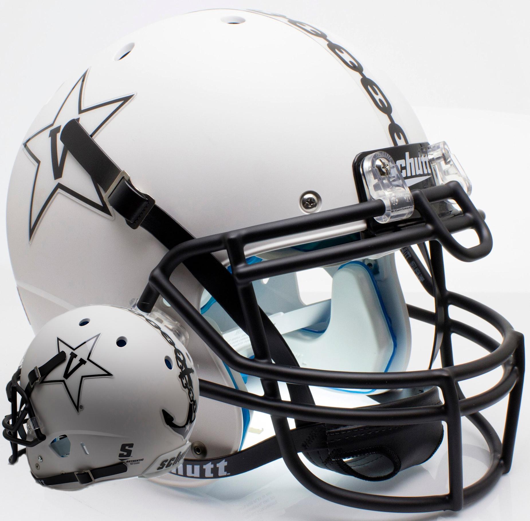 Vanderbilt Commodores Authentic College XP Football Helmet <B>Matte White w/Anchor<B>