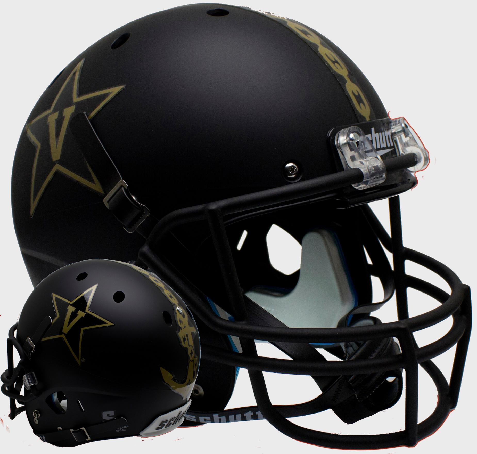 Vanderbilt Commodores Full XP Replica Football Helmet Schutt <B>Matte Black w/Anchor<B>