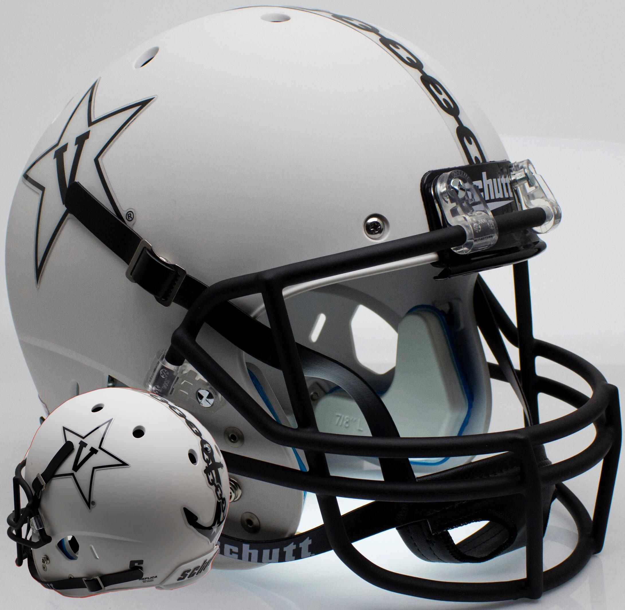 Vanderbilt Commodores Full XP Replica Football Helmet Schutt <B>Matte White w/Anchor<B>