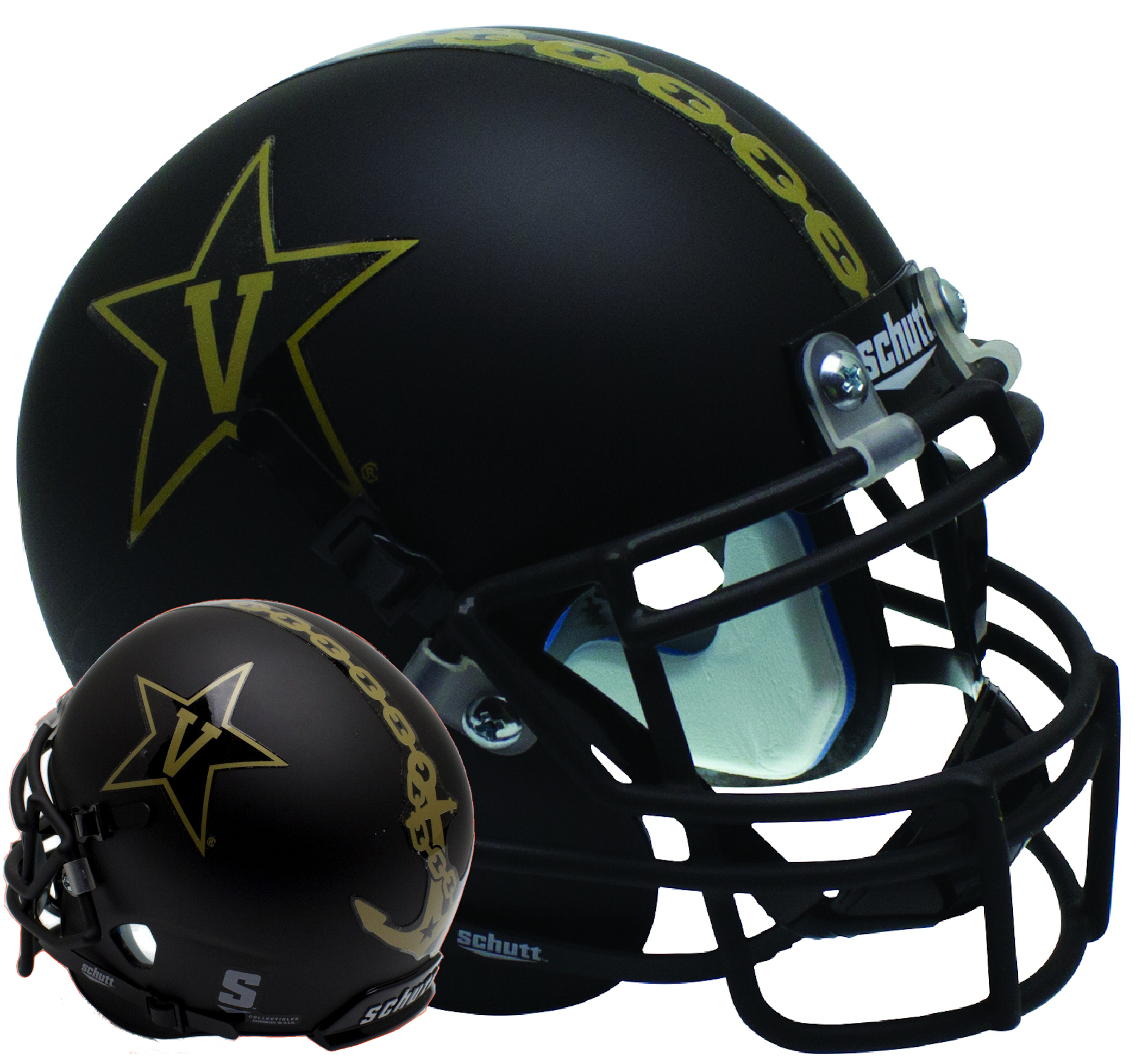 Vanderbilt Commodores Mini XP Authentic Helmet Schutt <B>Matte Black w/Matte Mask<B>