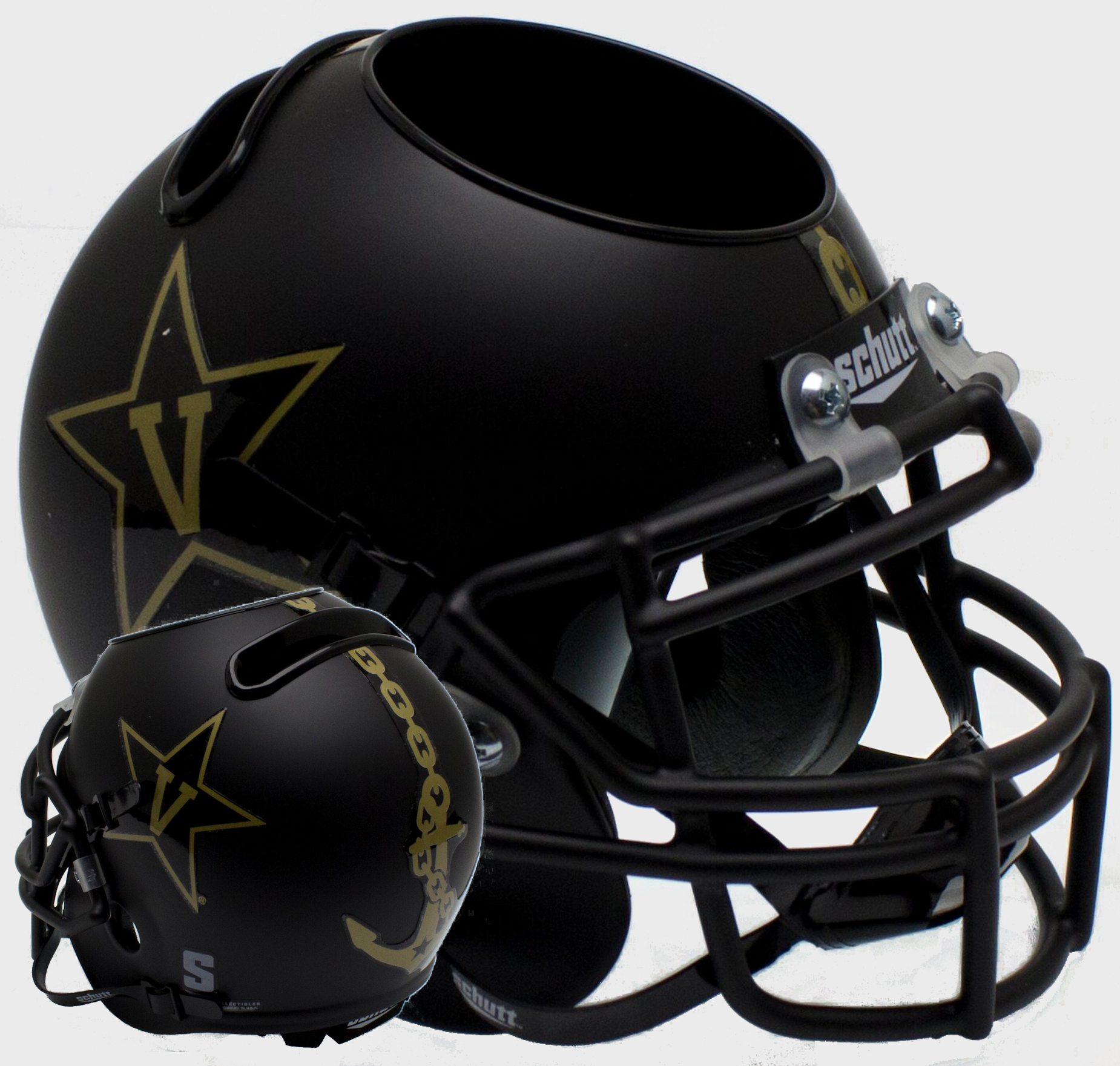 Vanderbilt Commodores Miniature Football Helmet Desk Caddy <B>Matte Black w/Anchor<B>
