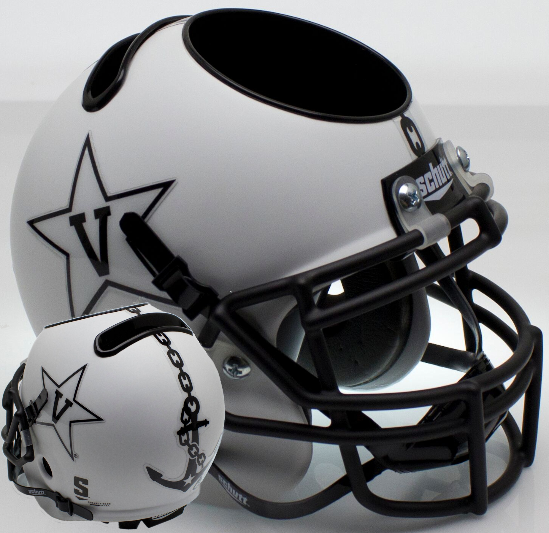 Vanderbilt Commodores Miniature Football Helmet Desk Caddy <B>Matte White w/Anchor<B>