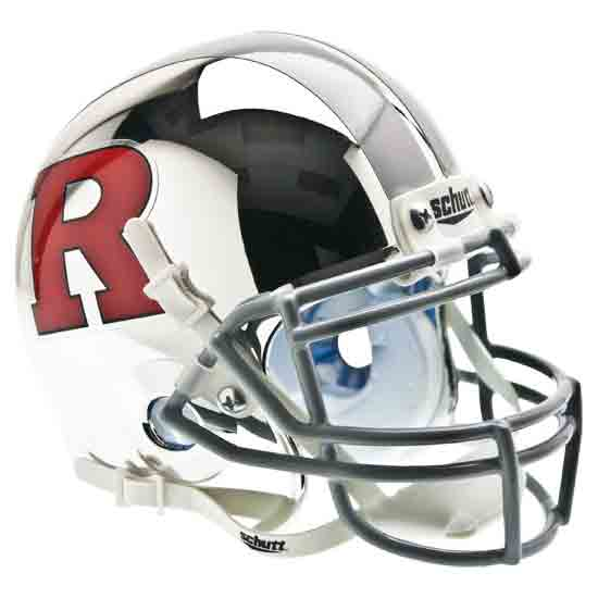 Rutgers Scarlet Knights Miniature Football Helmet Desk Caddy <B>Matte Chrome Red R Grey Facemask</B>