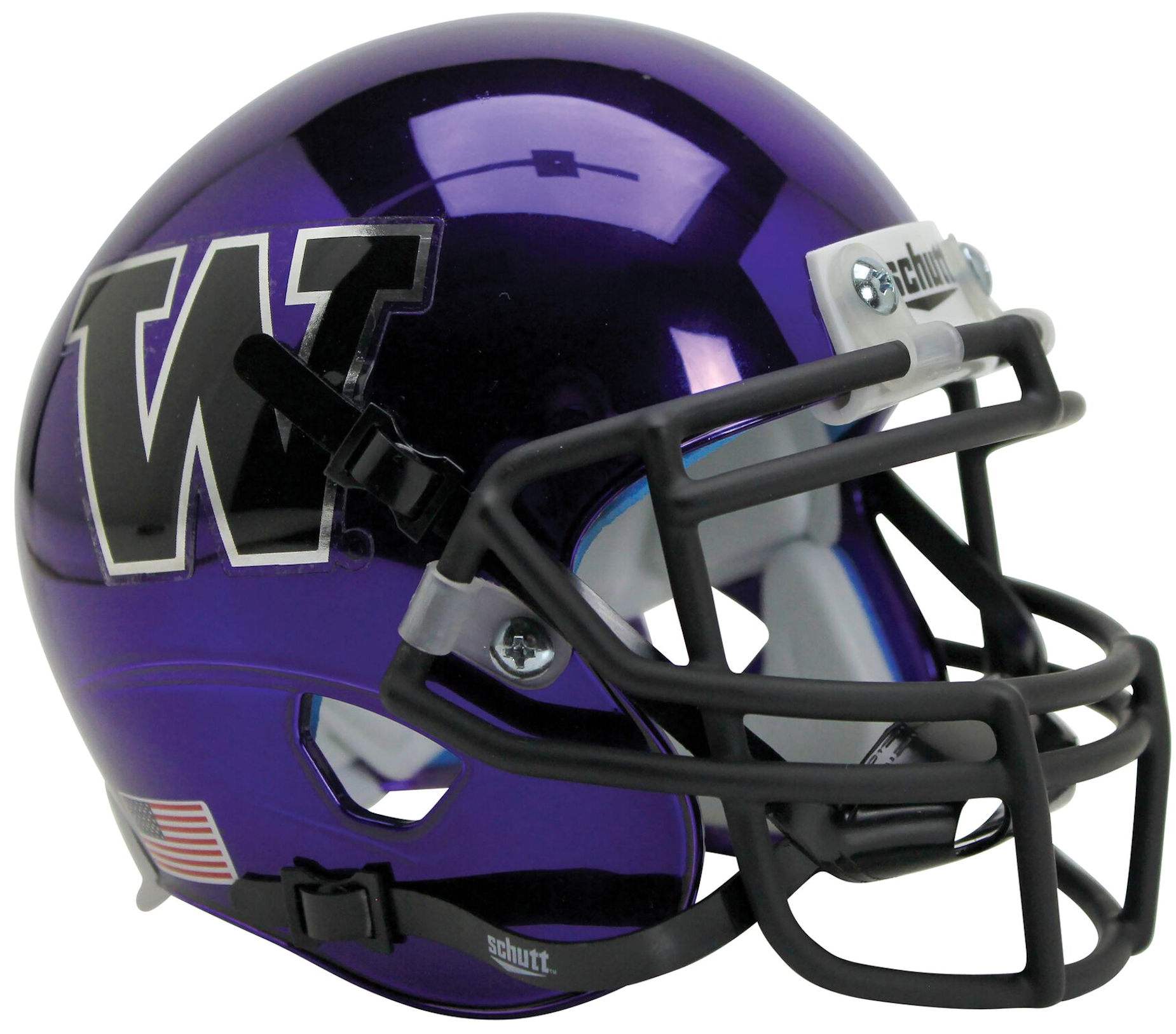 Washington Huskies Mini XP Authentic Helmet Schutt <B>Chrome Purple</B>