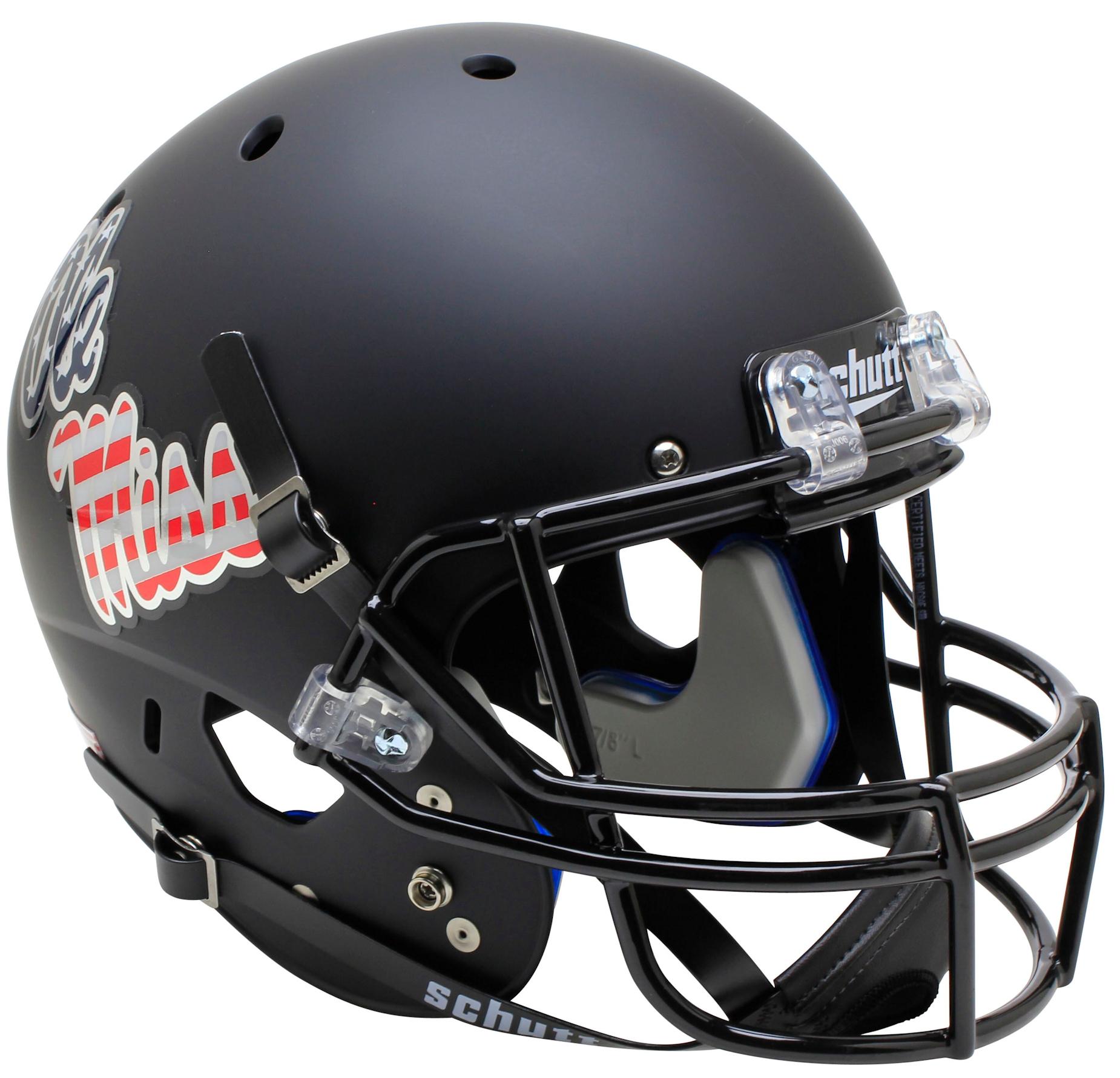 Mississippi (Ole Miss) Rebels Full XP Replica Football Helmet Schutt <B>Patriot Decal</B>