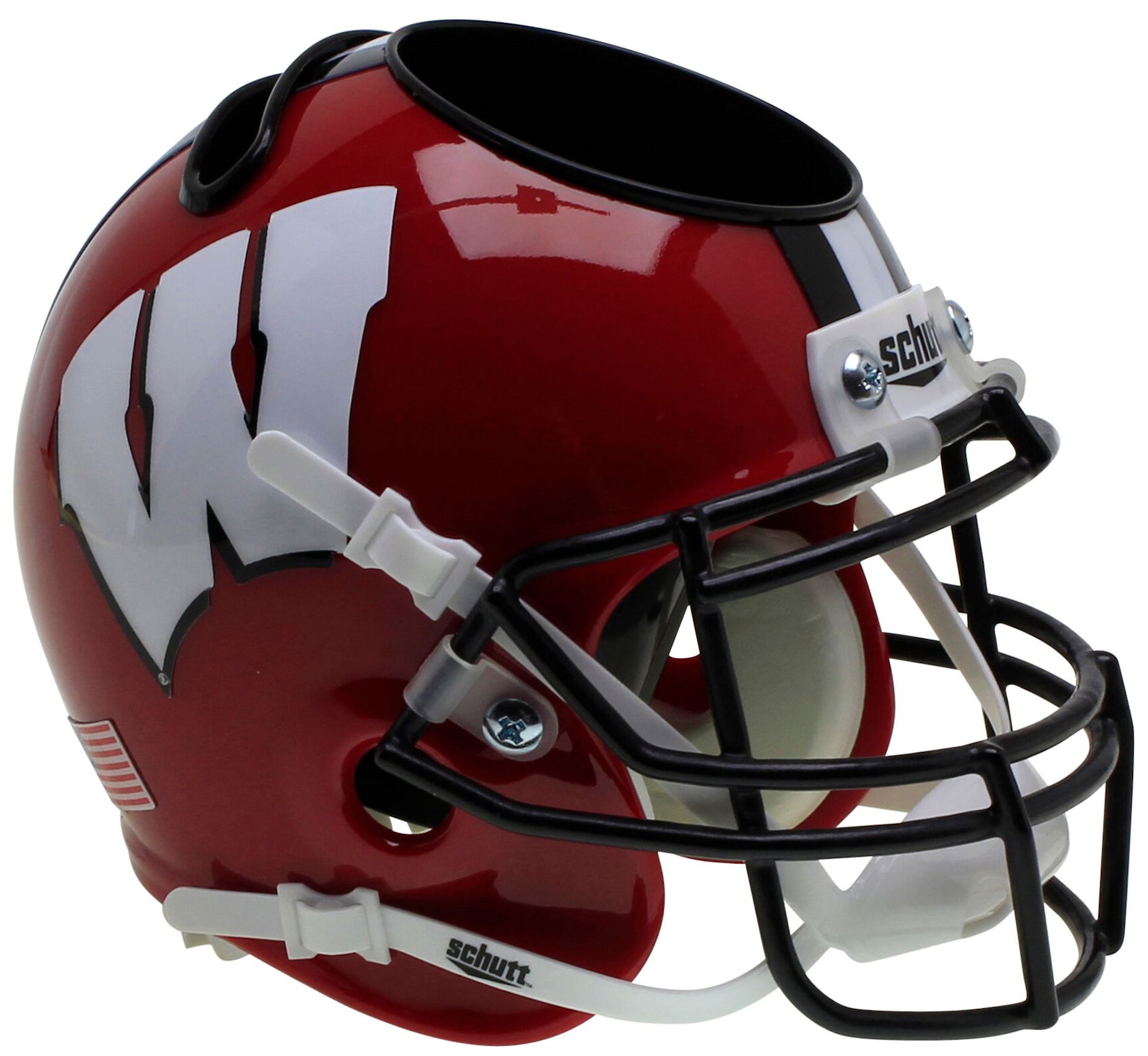 Wisconsin Badgers Miniature Football Helmet Desk Caddy <B>Red Black Mask</B>
