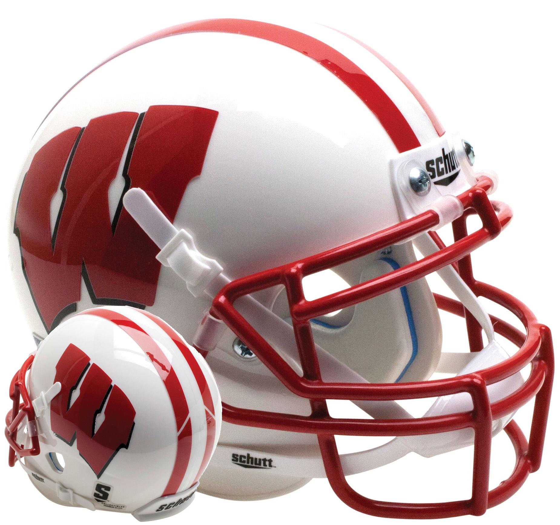 Wisconsin Badgers Full XP Replica Football Helmet Schutt <B>White</B>